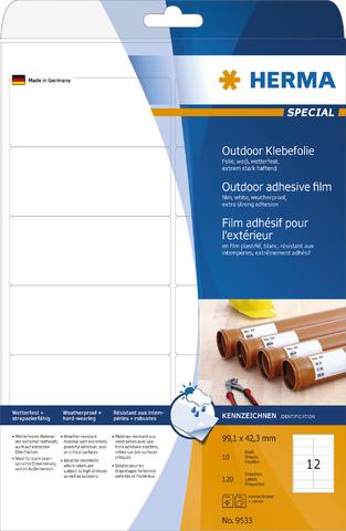 Etikett Outdoor, FL/FK, sk, abger.Ecken, 99,1 x 42,3 mm, weiß, matt