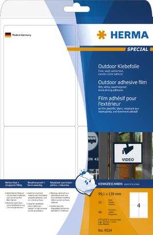 Etikett Outdoor, FL/FK, sk, abger.Ecken, 99,1 x 139 mm, weiß, matt