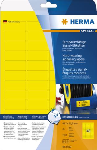 Etikett, FL/FK, auf A4-Bogen, sk, PES-Fol., 45,7 x 21,2 mm, gelb, matt