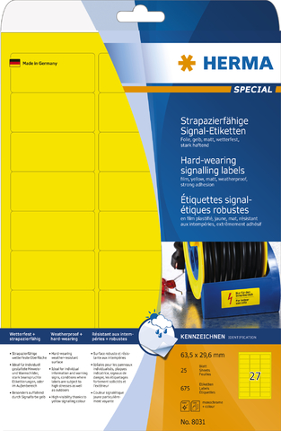 Etikett, FL/FK, auf A4-Bogen, sk, PES-Fol., 63,5 x 29,6 mm, gelb, matt