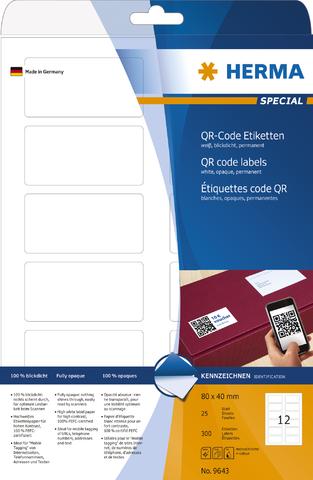 Etikett, QR-Codes, I/L/K, sk, 80 x 40 mm, weiß, opak