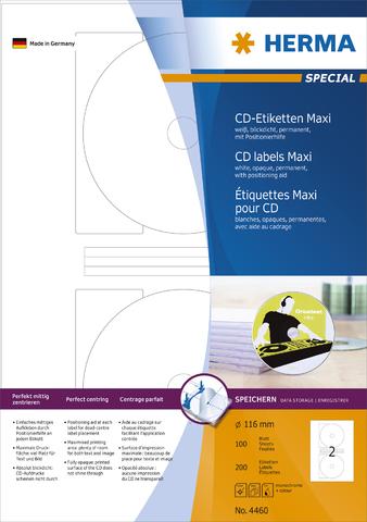 Etikett, CDs/DVDs, I/L/K, sk, Loch 17 mm, Ø: 116 mm, weiß