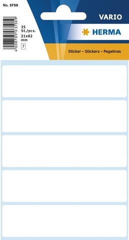 Etikett, Handbeschriftung, sk, Spezialpapier, 21 x 82 mm, weiß