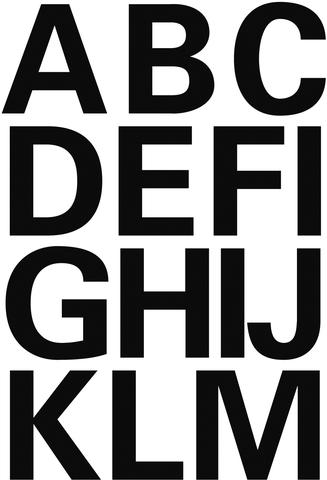Etikett, A-Z, sk, Folie, Schrifth.: 25 mm, freigestellt, schwarz