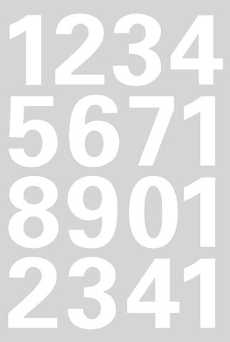 Etikett, 0-9, sk, Folie, Schrifth.: 25 mm, weiß, Hintergrund: grau