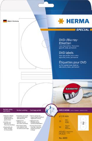 Etikett, DVDs/BDs, FL/FK, sk, Folie, Ø: 116 mm, weiß, matt