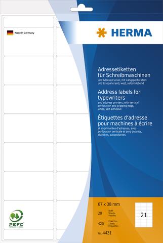Adressetikett, Schreibmaschine, A4-Bg., sk, abger.Ecken, 67x38mm, weiß