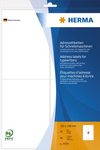 Adressetikett, Schreibmaschine, sk, abgerundete Ecken, 102x148mm, weiß