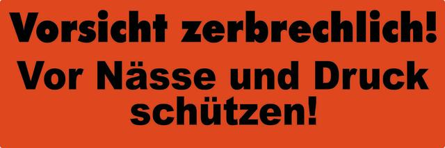 Etikett, Vorsicht zerbrechlich!, sk, Papier, 150 x 50 mm, orange