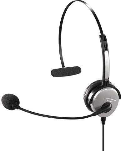 Headset, mit 2,5 mm Klinken-Buchse, Kopfbügel, Mono, schwarz/silber