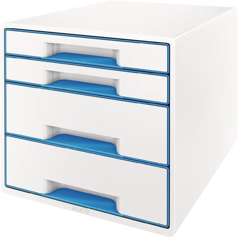 Schubladenbox WOW CUBE, mit 4 Schubladen, weiß/blau