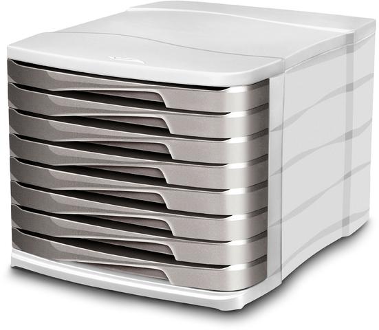 Schubladenbox Ellypse, mit 8 Schubladen, A4, hellgrau/taupe