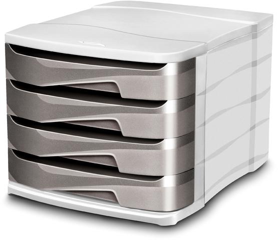 Schubladenbox Ellypse, mit 4 Schubladen, A4, hellgrau/taupe