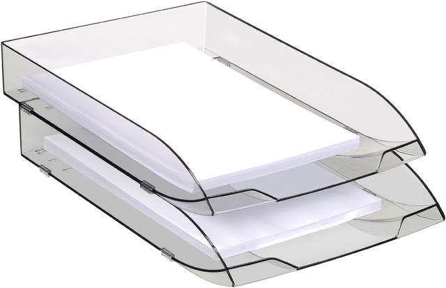 Briefkorb Ice, PS, A4, 270 x 370 x 61 mm, schwarz, transparent