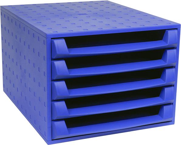 Schubladenbox THE BOX, mit 5 offenen Schubladen, A4, kobaltblau