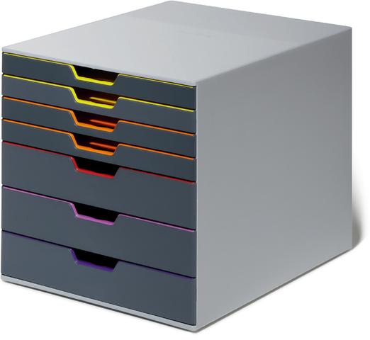 Schubladenbox VARICOLOR, mit 7 Schubladen, 292 x 356 x 280 mm, grau