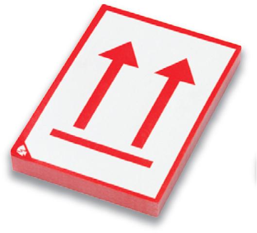 Etikett, Pfeil, sk, Papier, 80 x 105 mm, weiß/rot