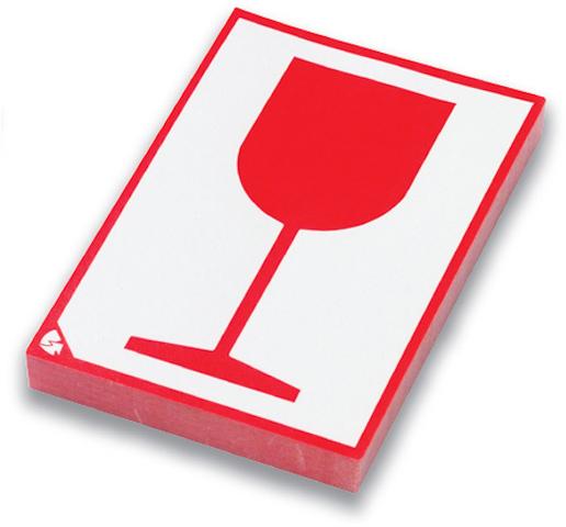 Etikett, Glas, sk, Papier, 80 x 105 mm, weiß/rot