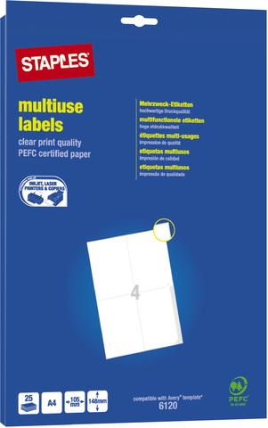 Etikett, I/L/K, A4-Bg., sk, Pap., 105x148mm, weiß