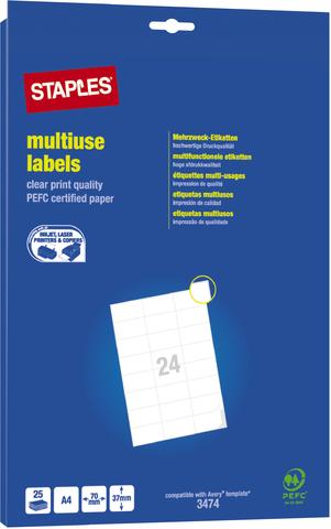 Etikett, I/L/K, A4-Bg., sk, Pap., 70x37mm, weiß