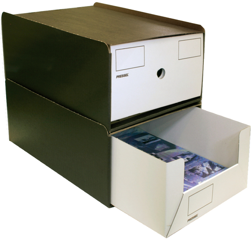 Schubladenbox, mit 1 Schublade, A4, 258x347x145mm, dunkelbraun/weiß