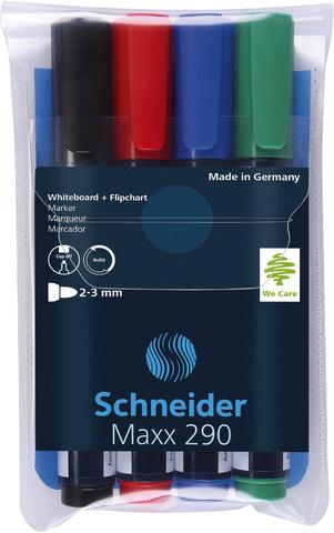 Boardmarker, Maxx 290, nachf., Rsp., 2-3mm, Schreibf.: 4er sortiert