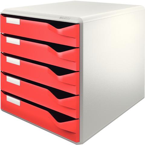 Schubladenbox, PS, mit 5 Schubladen, A4, lichtgrau/rot