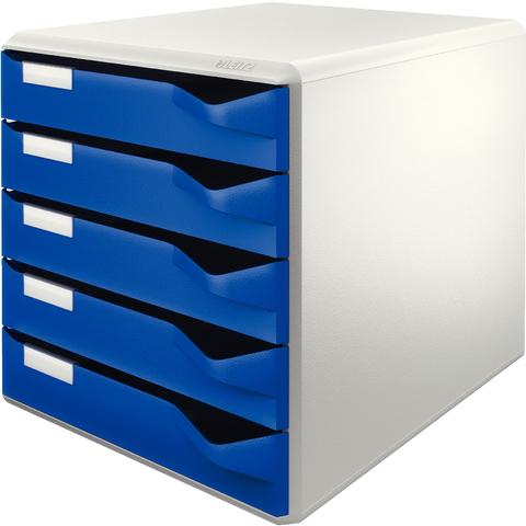 Schubladenbox, PS, mit 5 Schubladen, A4, lichtgrau/blau
