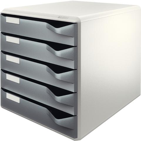 Schubladenbox, PS, mit 5 Schubladen, A4, lichtgrau/dunkelgrau