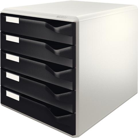Schubladenbox, PS, mit 5 Schubladen, A4, lichtgrau/schwarz