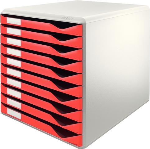 Schubladenbox, PS, mit 10 Schubladen, A4, lichtgrau/rot