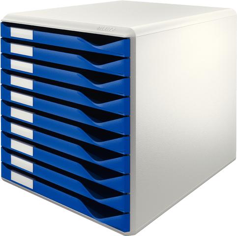 Schubladenbox, PS, mit 10 Schubladen, A4, lichtgrau/blau