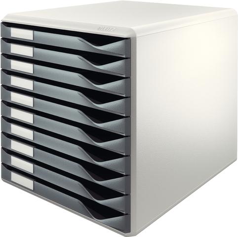 Schubladenbox, PS, mit 10 Schubladen, A4, lichtgrau/dunkelgrau