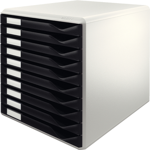 Schubladenbox, PS, mit 10 Schubladen, A4, lichtgrau/schwarz