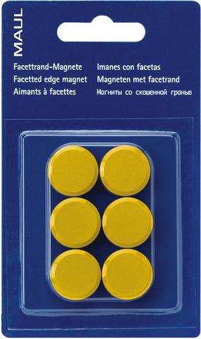 Magnet, rund, Ø: 20 mm, Haftkraft: 300 g, gelb