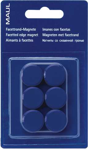 Magnet, rund, Ø: 20 mm, Haftkraft: 300 g, blau
