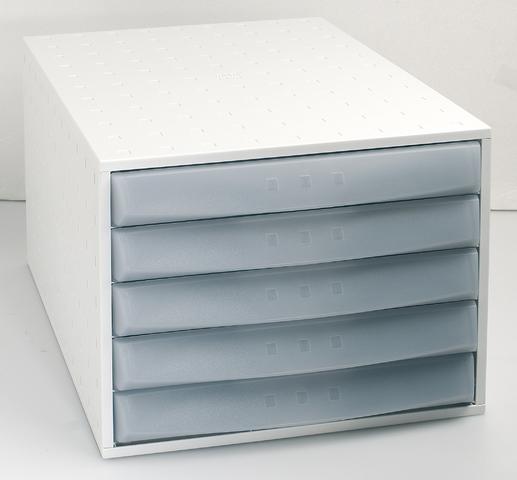 Schubladenbox, mit 5 geschlossenen Schubladen, A4, lichtgrau
