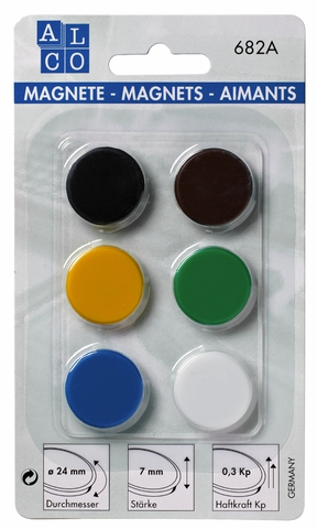 Magnet, rund, Ø: 24 mm, Haftkraft: 300 g, sortiert