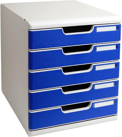 Briefständer, PS, 5 Fächer, lichtgrau/blau