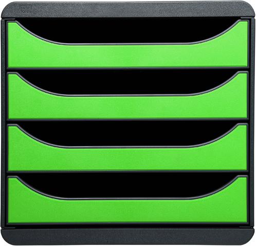 Schubladenbox, leer, mit 4 geschlossenen Schubladen, apfelgrün