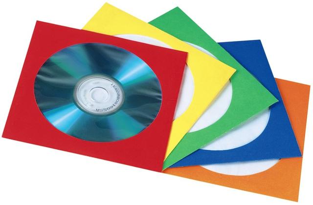 CD-Hülle, Papier, für: 1 CD/DVD, 5farbig sortiert
