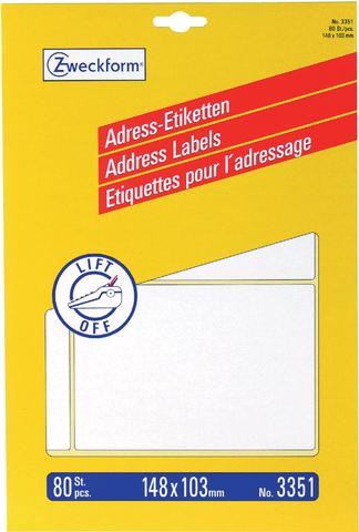Adressetikett, Adressen, Schreibmaschine, 148 x 103 mm, weiß