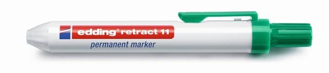 Permanentmarker retract 11, Rundspitze, 1,5 - 3 mm, Schreibf.: grün