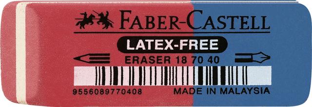 Radierer 187040, für: Blei-/Farbstifte/Tinte, 56 x 20 x 7 mm, rot/blau