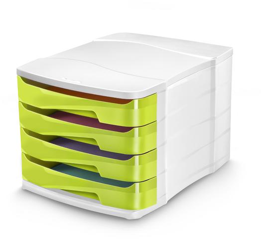Schubladenbox Gloss, PS, mit 4 Schubladen, 292x386x246mm, weiß/grün