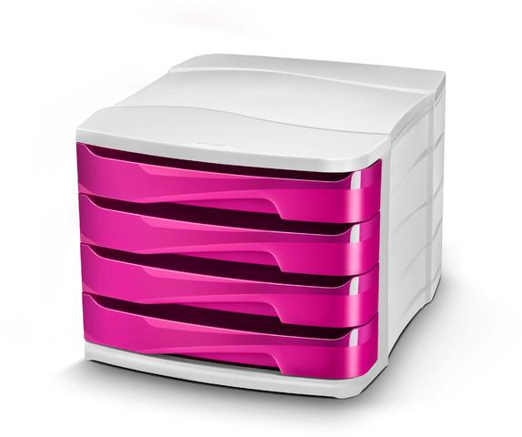 Schubladenbox Gloss, PS, mit 4 Schubladen, 292x386x246mm, weiß/pink