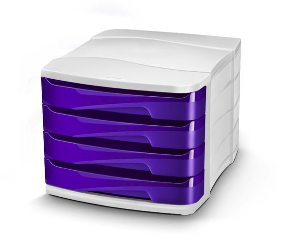 Schubladenbox Gloss, PS, mit 4 Schubladen, 292x386x246mm, weiß/violett