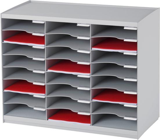 Sortieranlage, leer, PS, mit 24 Fächern, A4, 674 x 308 x 548 mm, grau