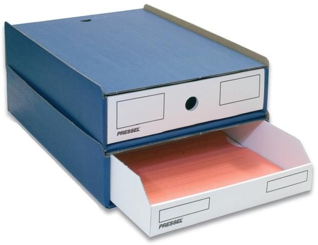 Schubladenbox, mit 1 Schublade, A4, 258 x 347 x 75 mm, blau/weiß