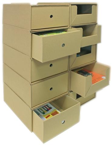 Schubladenbox, Wellpappe, mit 1 Schublade, A4, 258x347x145mm, natur